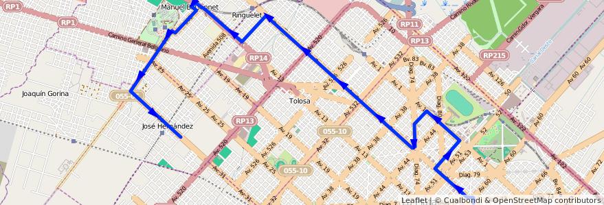 Mapa del recorrido 17 de la línea Norte en Partido de La Plata.