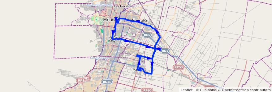 Mapa del recorrido 171 - Maipú - Viejo Viñedo - Rodeo de la Cruz - Coquimbito - 173 de la línea G10 en Mendoza.