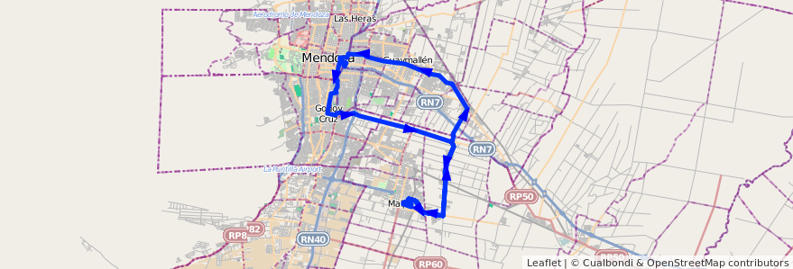 Mapa del recorrido 172 - Maipú - Rodeo de la Cruz - Coquimbito - 173 de la línea G10 en Mendoza.