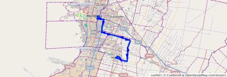 Mapa del recorrido 173 - Expreso - Maipé - Rodriguez Peña - Mendoza de la línea G10 en Mendoza.