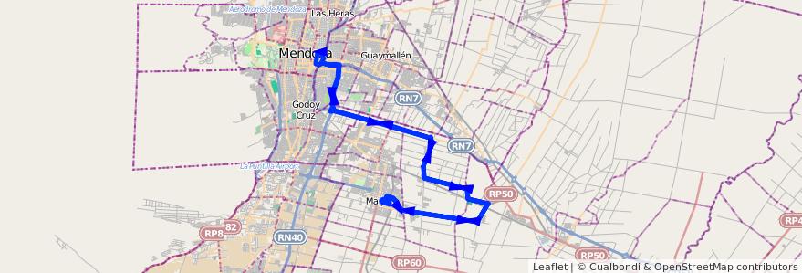 Mapa del recorrido 173 - Expreso - Maipú - Ortega - Necochea - Rodriguez Peña - Mendoza de la línea G10 en Mendoza.