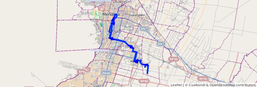 Mapa del recorrido 174 - Bº Amupe - Bº Tropero Sosa - Mendoza por Plaza Godoy Cruz de la línea G10 en Mendoza.