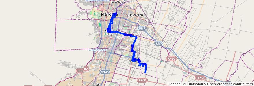 Mapa del recorrido 174 - Bº Tropero Sosa - Malcayaes - Mendoza por PLaza Godoy Cruz de la línea G10 en Mendoza.
