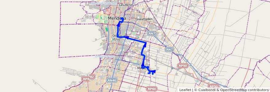 Mapa del recorrido 174 - Bº Tropero Sosa - Zona Industrial de la línea G10 en Mendoza.