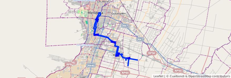 Mapa del recorrido 174 - Castro Barros - Bº Tropero Sosa - Mendoza por Plaza Godoy Cruz de la línea G10 en Mendoza.