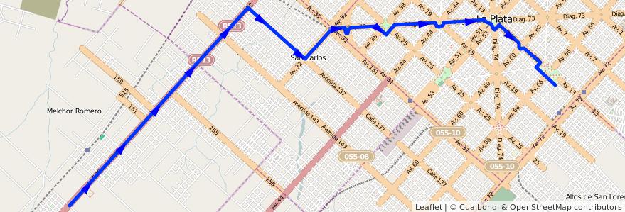 Mapa del recorrido 18 de la línea Oeste en Partido de La Plata.