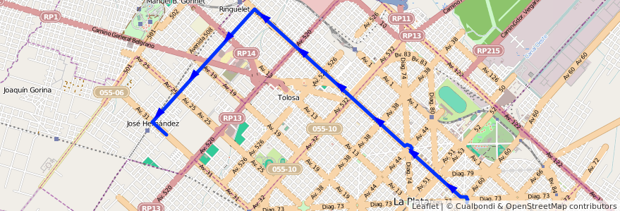 Mapa del recorrido 18 de la línea Norte en Partido de La Plata.