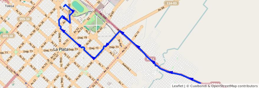 Mapa del recorrido 18 de la línea Este en Partido de La Plata.
