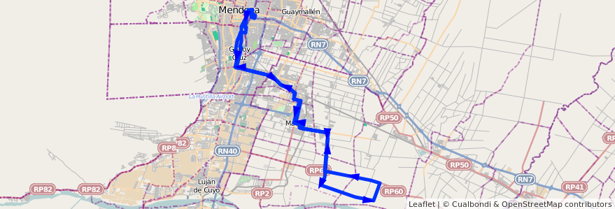 Mapa del recorrido 182 - Mendoza - Chachingo por Urquiza - Paraiso Ruta Nº 60 - Mendoza de la línea G10 en Mendoza.