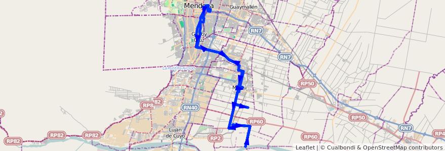 Mapa del recorrido 182 - Mendoza - Tres Esquinas - Superiora de vuelta - Hasta Río Mendoza de la línea G10 en Mendoza.