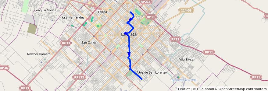 Mapa del recorrido 19 de la línea Sur en La Plata.