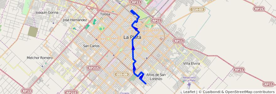 Mapa del recorrido 19 de la línea Sur en Partido de La Plata.
