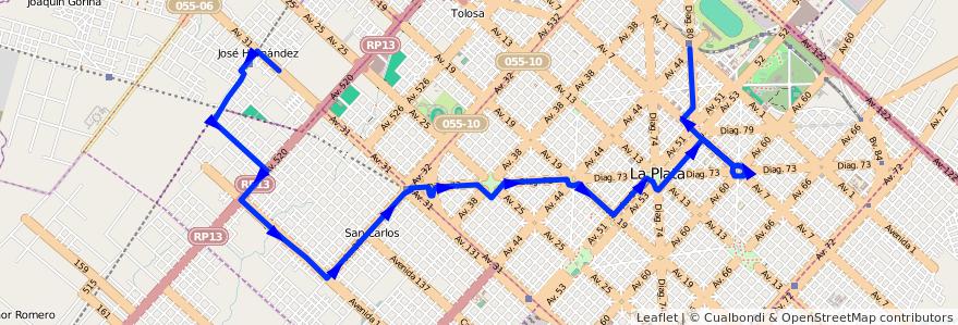 Mapa del recorrido 23 de la línea Oeste en Partido de La Plata.