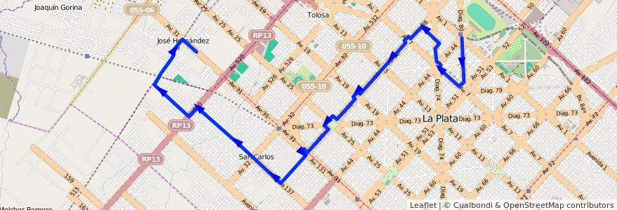 Mapa del recorrido 26 de la línea Oeste en Partido de La Plata.
