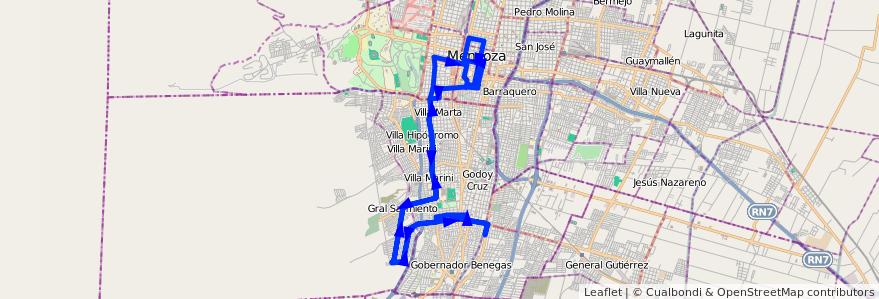 Mapa del recorrido 32 - B° Estanzula - Centro  de la línea G03 en Mendoza.