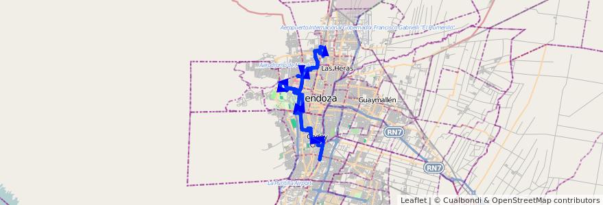 Mapa del recorrido 33 - Godoy Cruz - Las Heras por Paso de los Andes de la línea G03 en Mendoza.