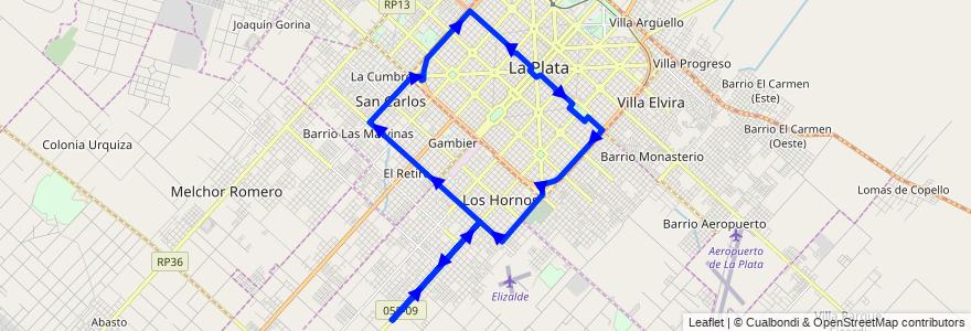 Mapa del recorrido 40 de la línea Sur en Partido de La Plata.