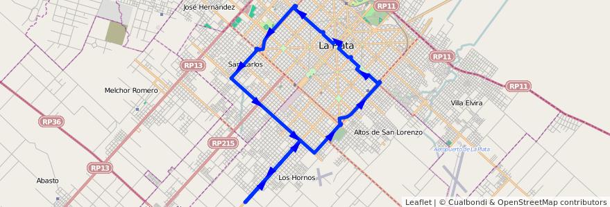 Mapa del recorrido 41 de la línea 506 en Partido de La Plata.