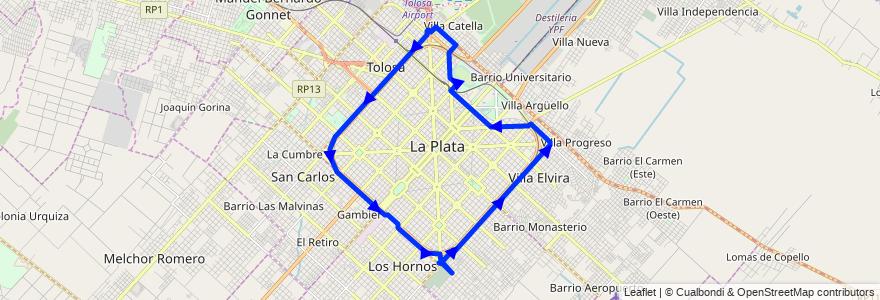 Mapa del recorrido 45 de la línea Este en Partido de La Plata.