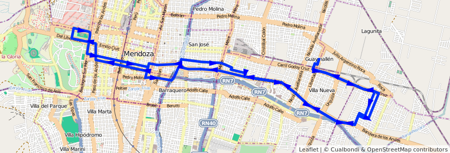 Mapa del recorrido 51 - Bº Santa Ana - Parque de la línea G05 en Mendoza.