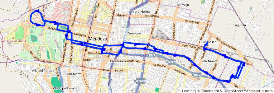 Mapa del recorrido 51 - Bº Santa Ana - U.N.C de la línea G05 en Mendoza.