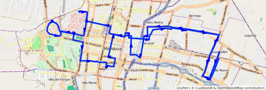 Mapa del recorrido 52 - San Lorenzo - U.N.C. de la línea G05 en Mendoza.