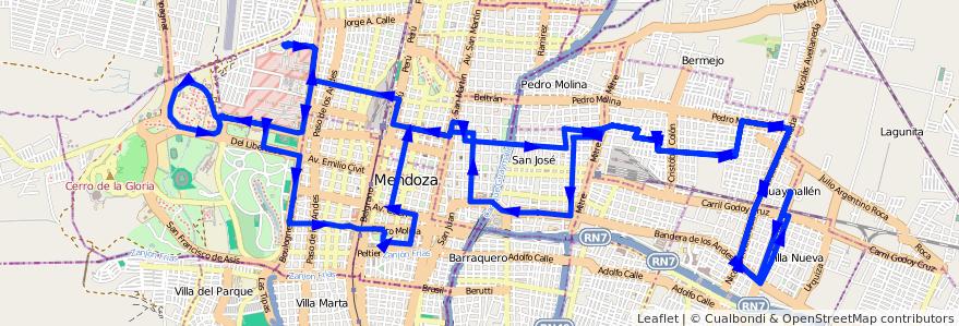 Mapa del recorrido 53 - Belgrano - U.N.C. de la línea G05 en Mendoza.