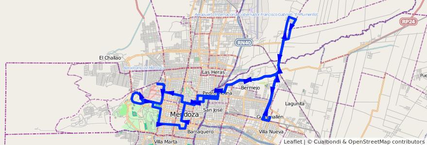 Mapa del recorrido 54 - Bermejo - Algorrobal - Hospitales - U.N.C. de la línea G05 en Mendoza.