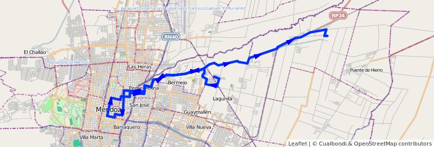 Mapa del recorrido 54 - Colonia Segovia - Centro - El Carmen de la línea G05 en Mendoza.
