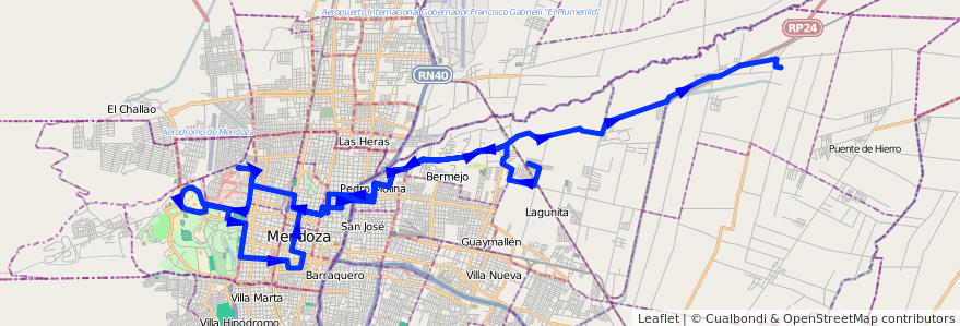 Mapa del recorrido 54 - Colonia Segovia - Hospitales - U.N.C. - El Carmen  de la línea G05 en Mendoza.