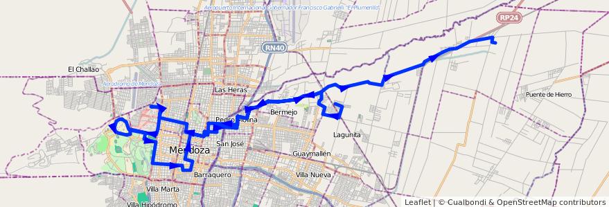 Mapa del recorrido 54 - Colonia Segovia - Hospitales - U.N.C. - Esc. Pouget - El Carmen  de la línea G05 en Mendoza.