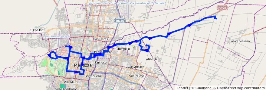 Mapa del recorrido 54 - El Carmen - Hospital - U.N.C. - Colonia Segovia  de la línea G05 en Mendoza.