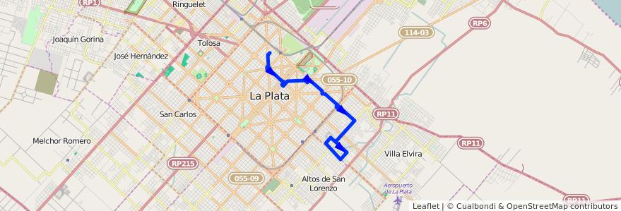 Mapa del recorrido 61 de la línea Este en Partido de La Plata.