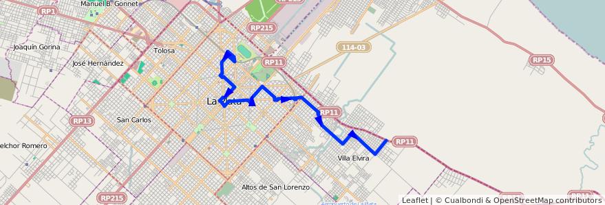 Mapa del recorrido 15 de la línea Este en Partido de La Plata.