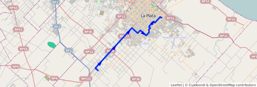 Mapa del recorrido 62 de la línea Oeste en Partido de La Plata.