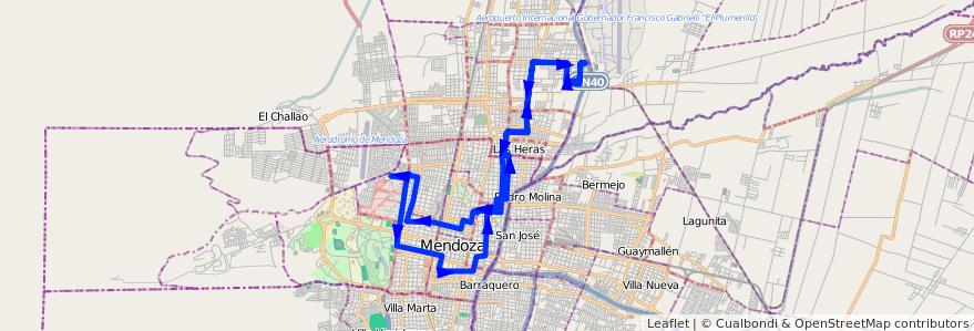 Mapa del recorrido 62 - Mathus Hoyos - Boulogne Sur Mer de la línea G06 en Mendoza.