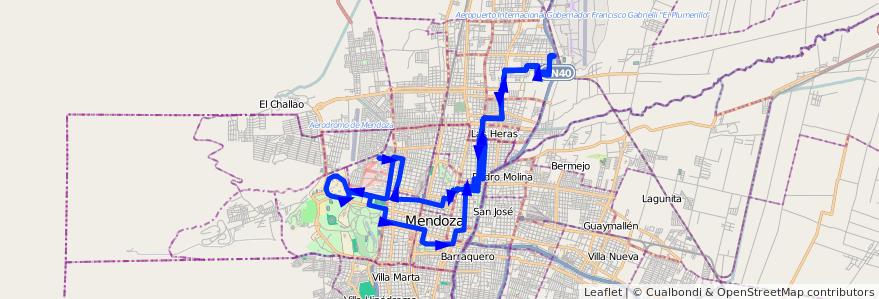 Mapa del recorrido 62 - Mathus Hoyos - Hospital - U.N.C. por Callejon Morales de la línea G06 en Mendoza.