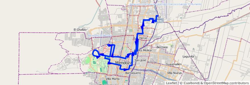 Mapa del recorrido 62 - Mathus Hoyos - Hospital - U.N.C. por Morales de la línea G06 en Mendoza.