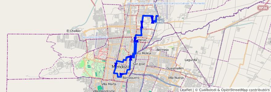 Mapa del recorrido 62 - Mathus Hoyos por Belgrano - Casa de Gob. de la línea G06 en Mendoza.
