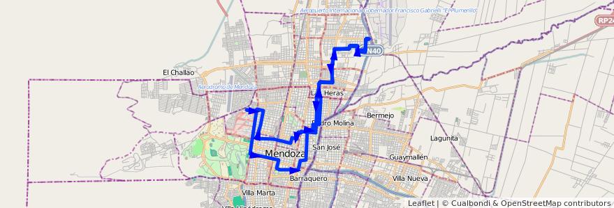 Mapa del recorrido 62 - Mathus Hoyos por Callejon Morales de la línea G06 en Mendoza.