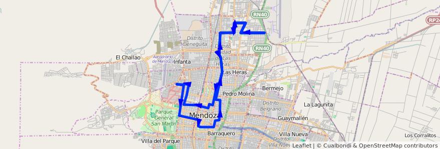 Mapa del recorrido 63 - Independencia - Patricias Mendocinas de la línea G06 en Mendoza.