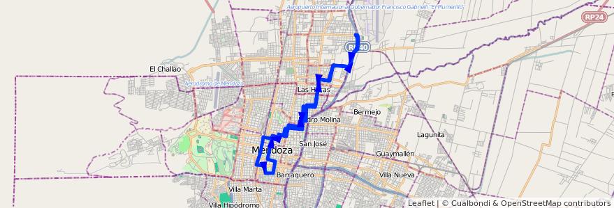 Mapa del recorrido 65 - Bº 1 de Mayo - Casa de Gob. de la línea G06 en Mendoza.