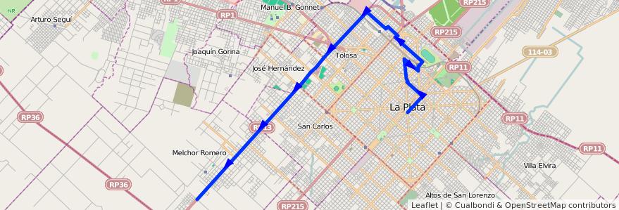 Mapa del recorrido 65 de la línea Oeste en Partido de La Plata.