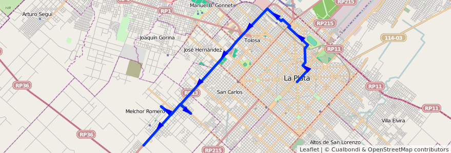 Mapa del recorrido 65 Gorina de la línea Oeste en Partido de La Plata.