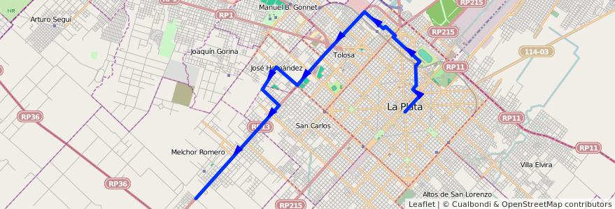 Mapa del recorrido 65 Hernández de la línea Oeste en Partido de La Plata.