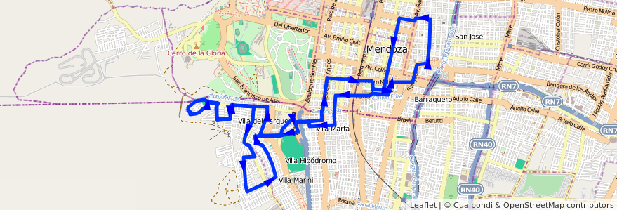 Mapa del recorrido 73 - Bº Judicial - Bº Supe - Casa de Gob. de la línea G05 en Mendoza.