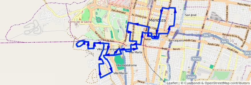 Mapa del recorrido 73 - Bº Supe - Bº Judicial - Casa de Gob. de la línea G05 en Mendoza.