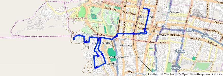 Mapa del recorrido 76 - Bº Supe - Expreso de la línea G05 en Mendoza.