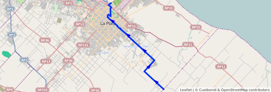 Mapa del recorrido 80 de la línea Este en Partido de La Plata.