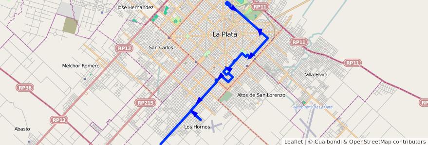 Mapa del recorrido 80 de la línea 506 en Partido de La Plata.